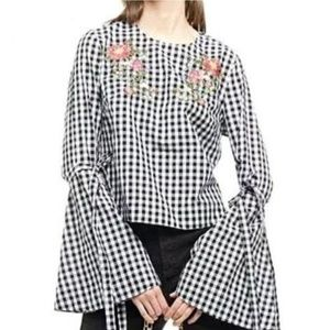 Gingham Top by Blueh Ciel NWOT Size M